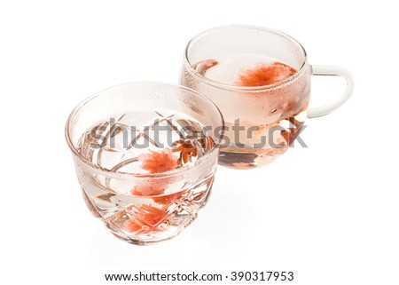 Herb tea of cherry blossoms - stock photo