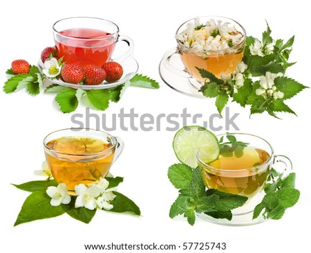 Herbal and fruit teas. Collection set  isolated on white background - stock photo