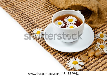 Herbal chamomile tea. With place for text. - stock photo