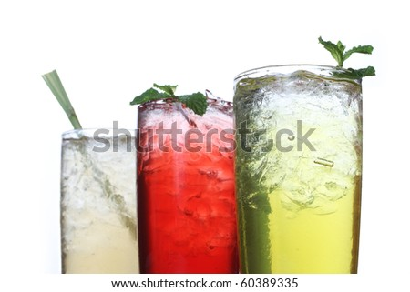 Herbal drink with mint on top. - stock photo