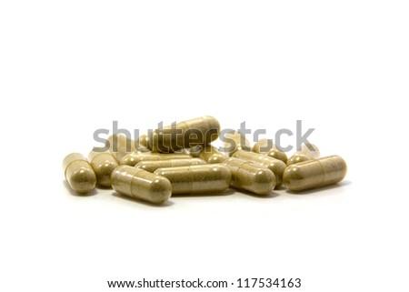 herbal drug capsule - stock photo