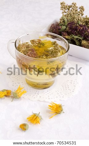 Herbal medical tea in a glass cup, vertical - stock photo