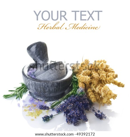 Herbal Medicine concept.Mortar and Herbs - stock photo
