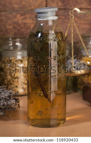 herbal medicine : motherwort  mixture 	 - stock photo