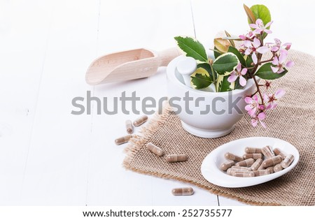 Herbal medicine pills and hawthorn flowers on a mortar over white background. Selective focus, copy space - stock photo