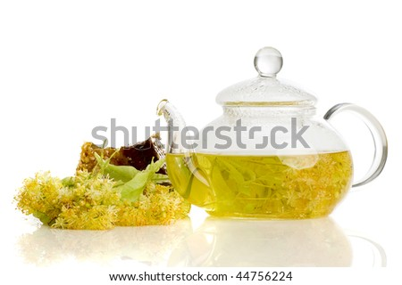 herbal medicine, tea with  linden flower and honey - stock photo