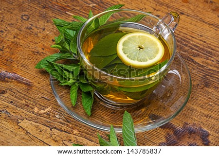 herbal mint tea - stock photo