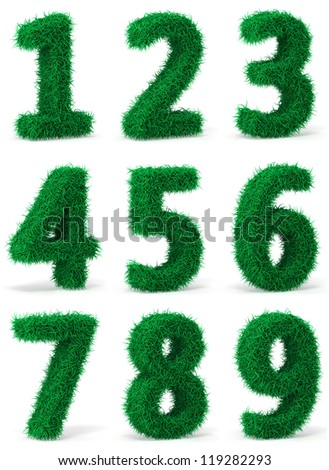 Herbal numbers on a white background - stock photo