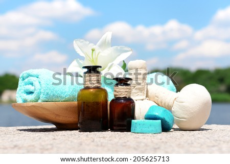 Herbal remedies for massage, outdoor  - stock photo