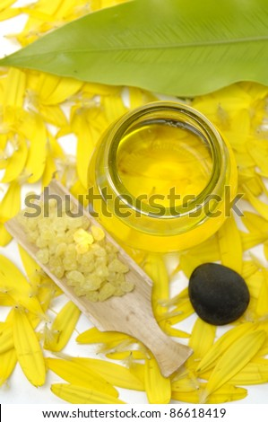 herbal salt and leaf with bottle of massage oil on petals background - stock photo