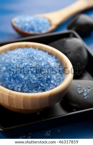 herbal salt and spa stones - stock photo