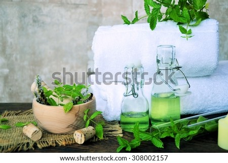 Herbal spa with essential oils of mint and mortar - stock photo