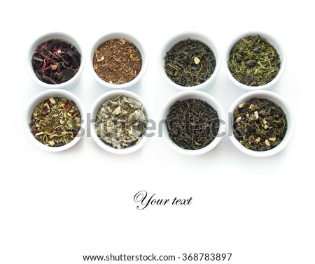 Herbal tea collection. Isolated on white - stock photo