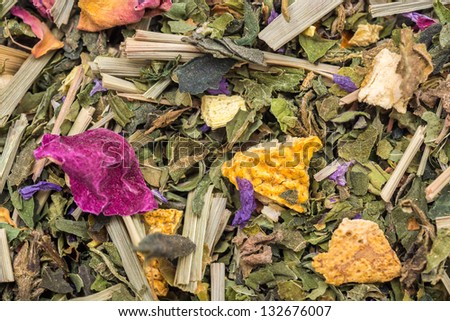 Herbal Tea Made From Various Medicinal Plants - stock photo