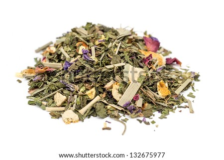 Herbal Tea Pile On A White Background. Composition Mint, Lemongrass, Orange, Sweet Wood Root, Rose Petals - stock photo