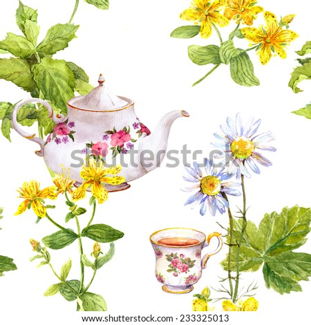 Herbal tea, tea herbs and flowers (chamomile, mint, hypericum), tea pot, tea cup. Seamless floral pattern. Water color - stock photo