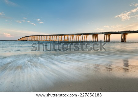 Herbert Bonner Bridge North Carolina Outer Banks Oregon Inlet Sunset - stock photo