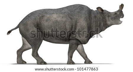 Herbivorous dinosaur walking - stock photo