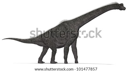 Herbivorous dinosaur with long neck - stock photo