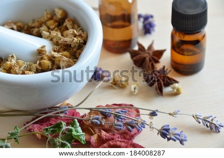 herbs and essential oils  - stock photo