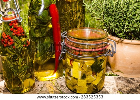 herbs and sheep cheese in oil - stock photo