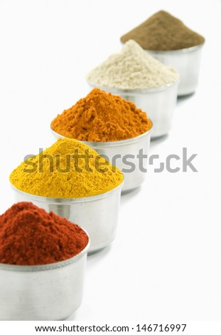 Herbs and Spices in silver pots, isolated on white background - stock photo