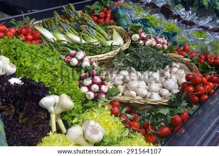 herbs and vegetables in the supermarket - stock photo