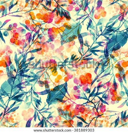 herbs, flowers, leaves and berries. abstract watercolor and digital imprints. hand drawn boho seamless pattern - mixed media artwork for textiles, fabrics, souvenirs, packaging and greeting cards.  - stock photo