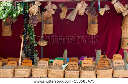 Herbs medicinal in a traditional market - stock photo