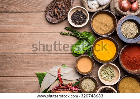 herbs of asian in the wood bowl of indian - stock photo