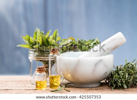 Herbs on wooden background. Mint, thyme, balm and other medicinal herbs - stock photo