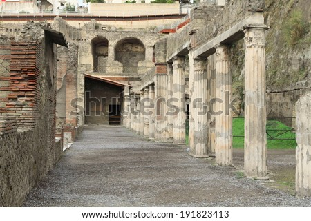 Herculaneum, an ancient city destroyed by Mt. Vesuvius and a UNESCO world heritage in Italy - stock photo
