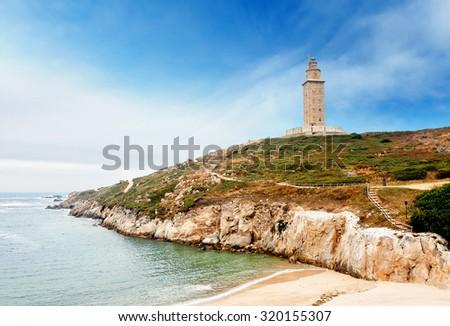 Hercules tower, A Coruna, Galicia, Spain - stock photo