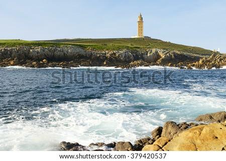 Hercules tower, Torre de Hercules, roman lighthouse , UNESCO world heritage - stock photo