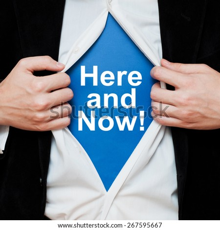 Here And Now ! Motivational concept - stock photo