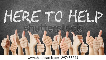 here to help thumbs up - stock photo