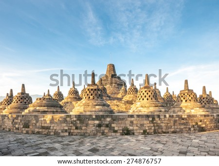 Heritage Buddist temple Borobudur complex in Yogjakarta in Java, indonesia  - stock photo