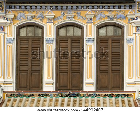 Heritage House Windows, George Town, Penang, Malaysia - stock photo