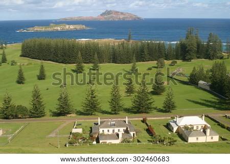 Heritage listed buildings on Norfolk Island - stock photo