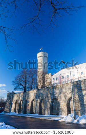Herman Tower and Parliament building in center of Tallinn, Estonia - stock photo