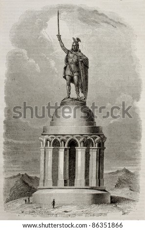 Hermannsdenkmal memorial old illustration, Germany. By unidentified author, published on Magasin Pittoresque, Paris, 1843 - stock photo