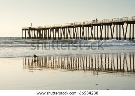 Hermosa Beach Pier California Sunset Reflections - stock photo
