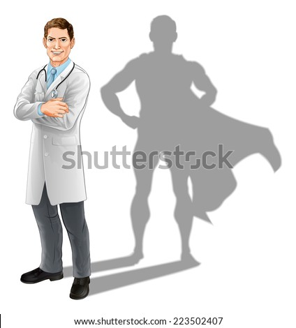 Hero doctor concept, illustration of a confident handsome doctor standing with his arms folded with superhero shadow - stock photo