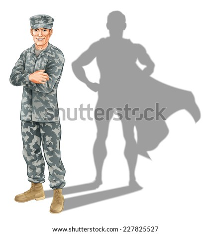 Hero soldier concept. A conceptual illustration of a military soldier standing with his shadow in the shape of a superhero - stock photo