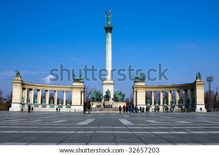 Heroes's Square at Budapest center - stock photo