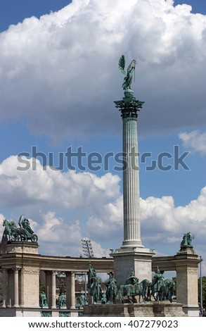 Heroes' square famous monument Budapest Hungary - stock photo