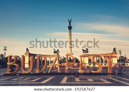 Heroes' Square - Hosok Tere whit Budapest  - stock photo
