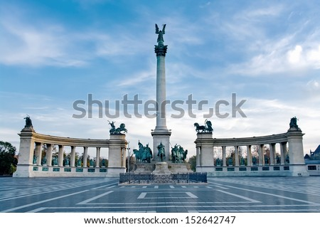 Heroes Square in Budapest, Hungary - stock photo