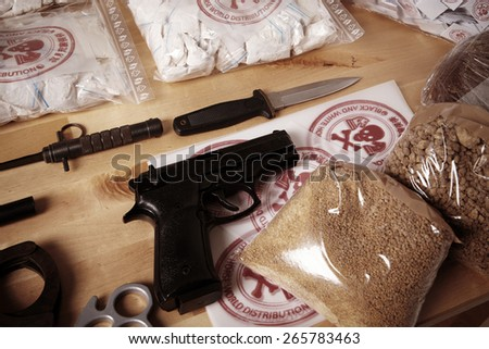 Heroin, pervitin, opium, raw material, weapons - stock photo