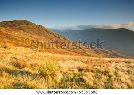 Heron Pike and Fairfield in autumn in the English Lake District - stock photo